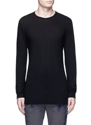 'L.T.' Rolled Hem Long Sleeve T Shirt Black