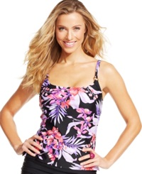 Island Escape Floral Print Tankini Top Women's Swimsuit Purple Multi