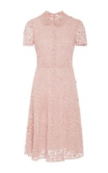 Red Valentino Floral Macrame Collared Short Dress Pink