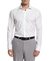 Ermenegildo Zegna Solid Long Sleeve Sport Shirt White
