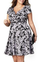 City Chic Plus Size Women's Rose Beauty Belted Fit And Flare Dress Dove