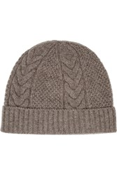 N.Peal Cashmere Cable Knit Cashmere Beanie Brown