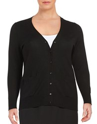Lord And Taylor Plus Button Front Merino Wool Cardigan Black