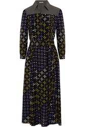 Bottega Veneta Printed Silk Crepe De Chine Shirt Dress Purple