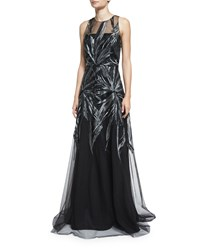 David Meister Embroidered Illusion Sleeveless Gown Black Silver Women's Blk Silver