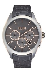 Men's Boss 'Onyx' Chronograph Crocodile Leather Strap Watch 44Mm