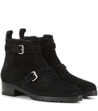 Tabitha Simmons Aggy Shearling Lined Suede Ankle Boots Black