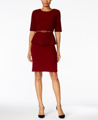 Connected Petite Belted Peplum Dress Merlot