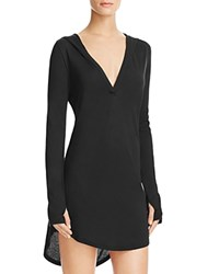 Yummie Tummie Yummie By Heather Thomson Hooded Cover Up Tunic Black