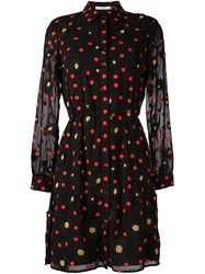 Alice Olivia Floral Embellished Long Sleeved Dress Black