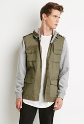 Forever 21 Hooded Utility Jacket Olive Heather Grey