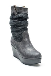 Muk Luks Quinn Slouchy Wedge Boot Gray