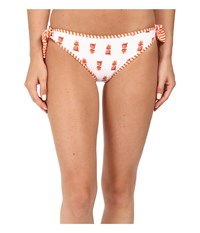 Tommy Bahama Pineapple Reversible Tie Side Hipster Bikini Bottom White Women's Swimwear