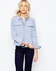 Pepe Jeans Suede Zip Up Jacket Blue