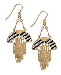 Sis By Simone I Smith 18K Gold Over Sterling Silver Earrings Black And White Crystal Cascading Dangle Earrings