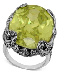 Genevieve And Grace Sterling Silver Ring Oval Lemon Yellow Crystal 43 Ct. T.W. And Marcasite Gallery Ring