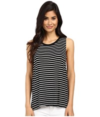 Project Social T Anne Claire Stripe Tank Top Black White Women's Sleeveless