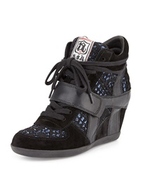 Ash Bowie Sequined Hidden Wedge Sneaker Blk Blk Bl