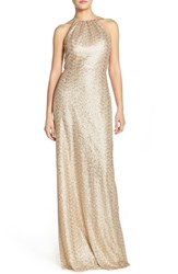Women's Amsale 'Chandler' Sequin Tulle Halter Style Gown Gold