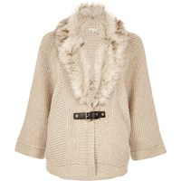 River Island Womens Oatmeal Faux Fur Trim Cape Cardigan Beige