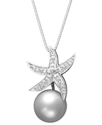 Macy's Sterling Silver Necklace Cultured Freshwater Pearl 10Mm And Diamond Accent Starfish Pendant