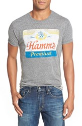 Retro Brand 'Hamm's Premium Beer' Graphic Crewneck T Shirt Streaky Grey