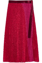 Sacai Velvet Trimmed Pleated Lace Wrap Skirt Red