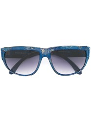Yves Saint Laurent Vintage Rectangular Frame Sunglasses Blue
