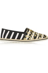 Mother Of Pearl Lagan Metallic Embroidered Striped Canvas Espadrilles Yellow