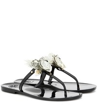 Tory Burch Blossom Jelly Embellished Sandals Black