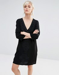 See U Soon Shift Dress With Deep V And Embroidered Panel Black