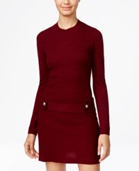 Amy Byer Bcx Juniors' Embellished Cable Knit Sweater Dress Bordeaux
