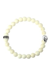 King Baby Studio Sterling Silver White Coral Bead Stretch Bracelet