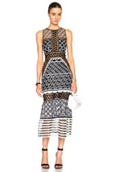 Jonathan Simkhai Embroidered Organza Dress In Black White Abstract Geometric Print
