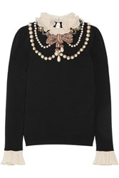 Gucci Ruffle Trimmed Embellished Wool Blend Sweater Black