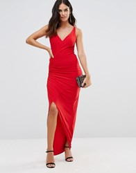 Honor Gold Hallie Maxi Dress With Slit Red