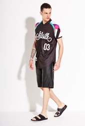 Forever 21 Sik Silk Baseball Shirt Black Multi