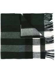 Burberry Plaid Fringed Scarf Green