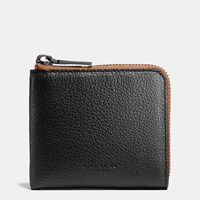 Coach Half Zip Wallet In Pebble Leather Black Saddle