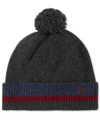 Polo Ralph Lauren Men's Knit School Stripe Hat Charcoal Wine Indigo W Charcoal Pom