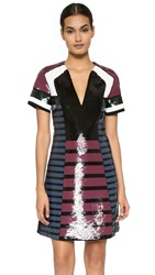Cedric Charlier Short Sleeve Sequin Dress Multi