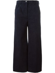 Msgm Faux Suede Cropped Trousers Blue