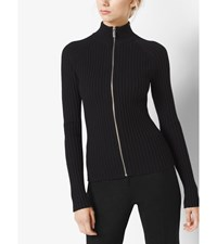 Ribbed Merino Wool Zip Up Sweater Black