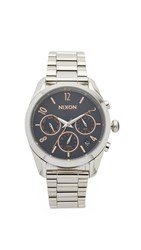 Nixon Bullet Chrono 36 Watch Silver Rose Gold Navy