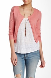 Wild Pearl Scoop Neck Cropped Cardigan Juniors Pink