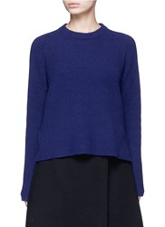 Proenza Schouler Side Sash Tie Wool Cashmere Sweater Blue