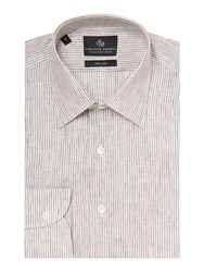 Chester Barrie Stripe Tailored Long Sleeve Classic Collar Shirt Brown