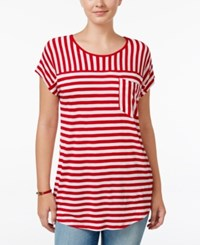 G.H. Bass And Co. Striped Short Sleeve Top Strawberry Combo