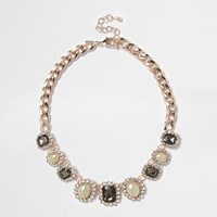 River Island Womens Rose Gold Tone Pearl Choker