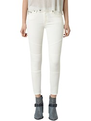 Allsaints Biker Cropped Jeans Off White
